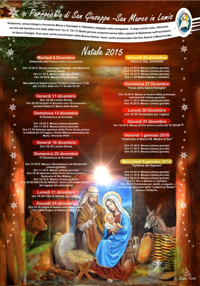 San Marco In Lamis Programma Del Natale 2015 Presso La Parrocchia